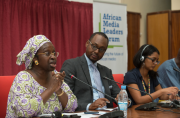 From left, activist Bineta Diop, Amadou Mahtar Ba of the...