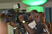 Video journalists covering the African Media Leaders Forum 2012 with...
